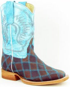 Anderson Bean Boys' Insane In The Membrane Western Boots - Round Toe, Turquoise, hi-res