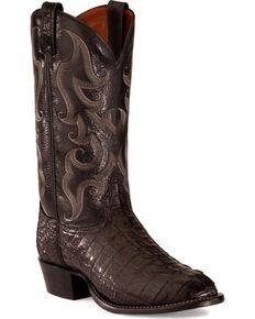 Tony Lama Caiman Tail Boots, Black, hi-res