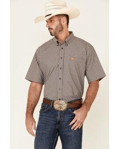 Cinch Men's Grey Small Plaid Short Sleeve Button-Down Western Shirt , Grey, hi-res
