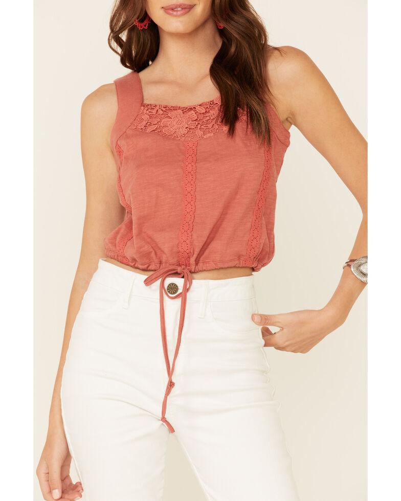 Rock & Roll Denim Women's Coral Slub-Knit Inset Crop Tank Top , Coral, hi-res
