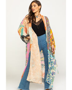 Free People Women's Mixed Print Keeping Up With The Kimono, Blush, hi-res