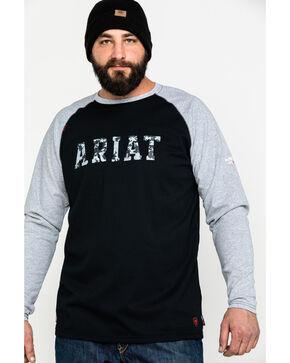 Ariat Men's Navy FR Baseball Logo Crew Work Tee - Tall , Navy, hi-res
