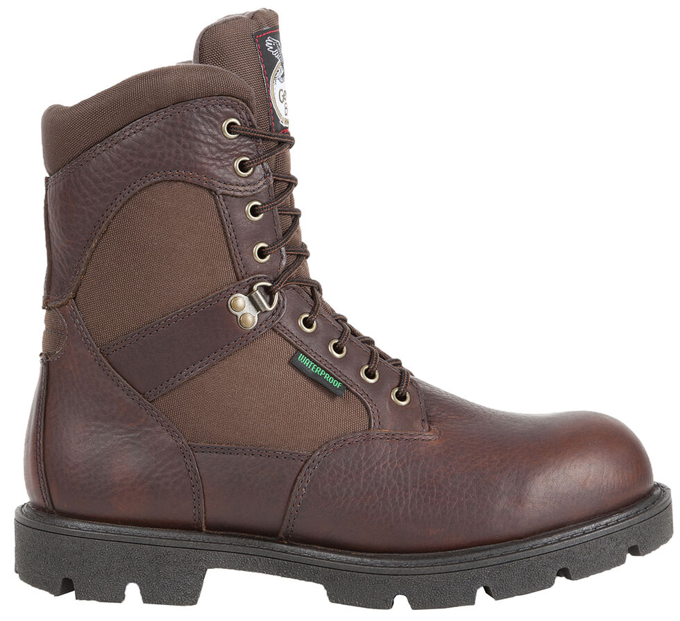 Georgia Homeland Waterproof Work Boots - Round Toe, Brown, hi-res