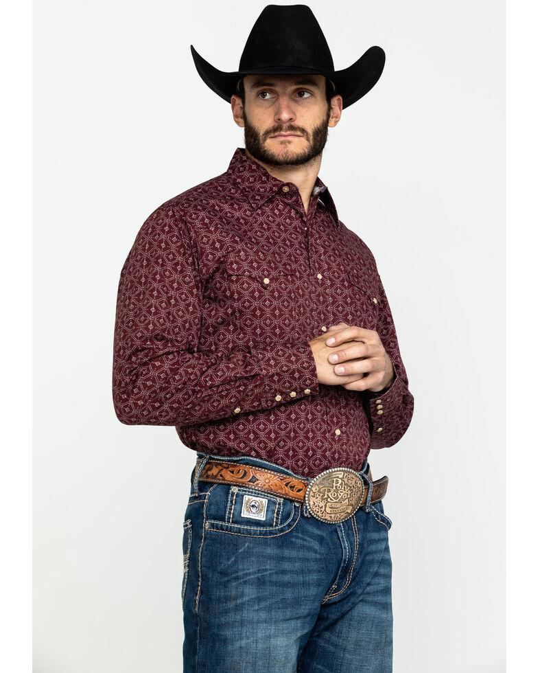 Roper Men's West Made Lattice Shadow Geo Print Long Sleeve Western Shirt , Red, hi-res