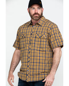 Hawx® Men's Plaid Yarn Dye Two Pocket Short Sleeve Work Shirt , Brown, hi-res