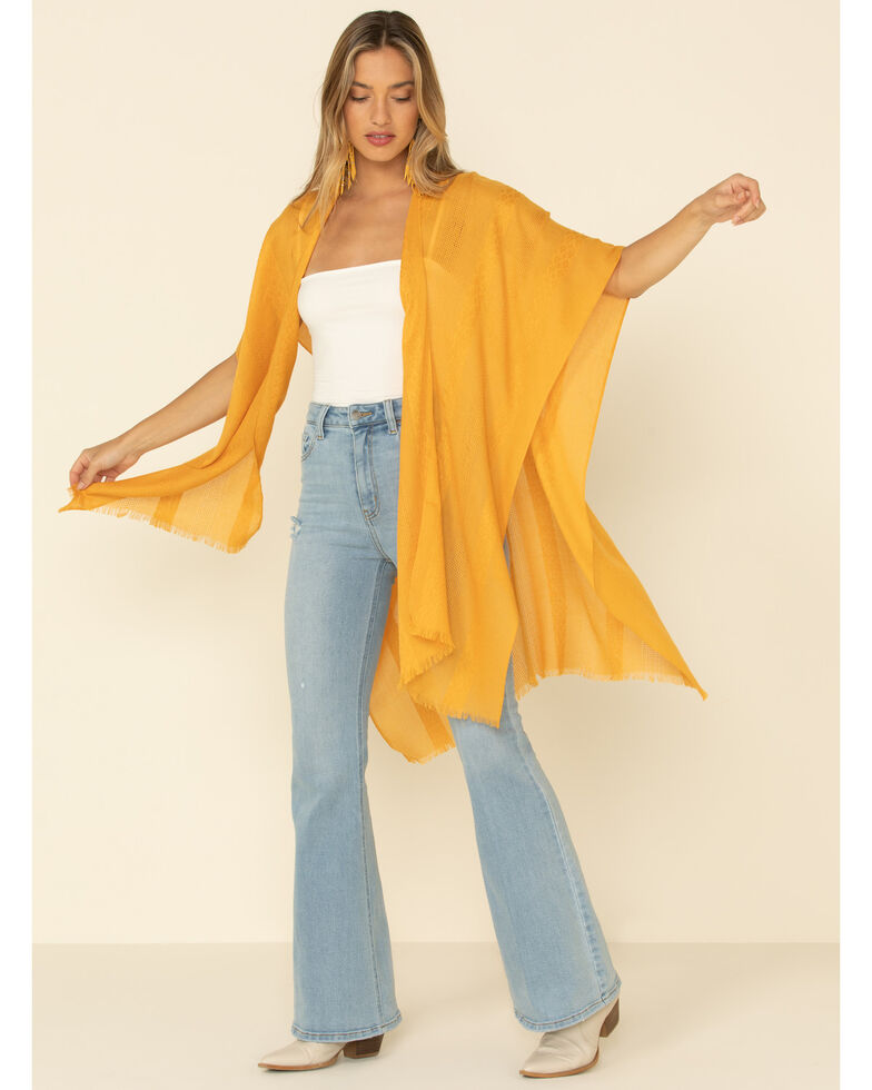 Shyanne Women's Golden Hour Woven Shawl, Yellow, hi-res