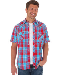Rock 47 by Wrangler Men's Red Checkered Short Sleeve Western Shirt , Red, hi-res