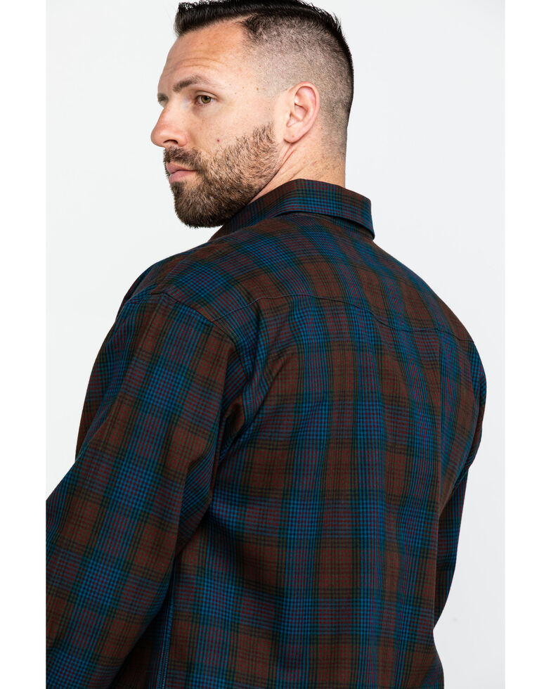 Powder River Outfitters Men's Twill Poplin Plaid Long Sleeve Western Shirt , Brown, hi-res