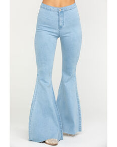 Flying Tomato Women's Light Wash High Rise Flare Jeans, Blue, hi-res