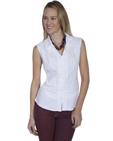 Cantina by Scully Women's White Button Tank Top, White, hi-res