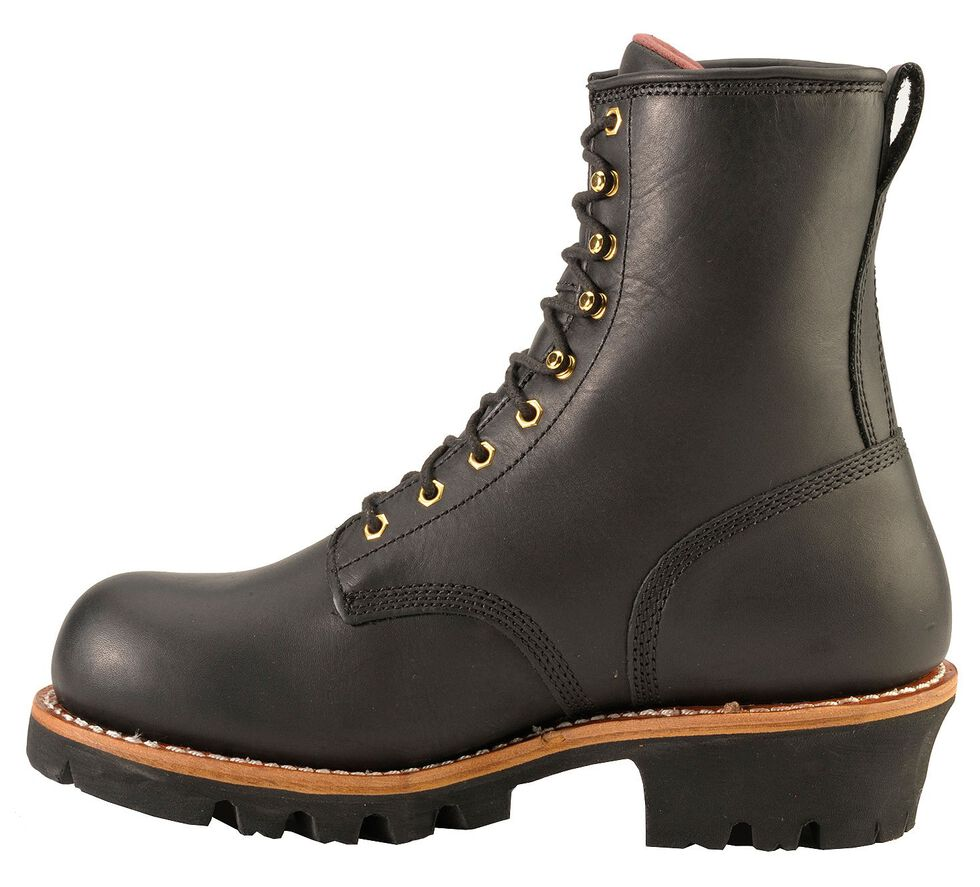 """Chippewa Waterproof & Insulated 8"""" Logger Boots - Round Toe, Black, hi-res"""