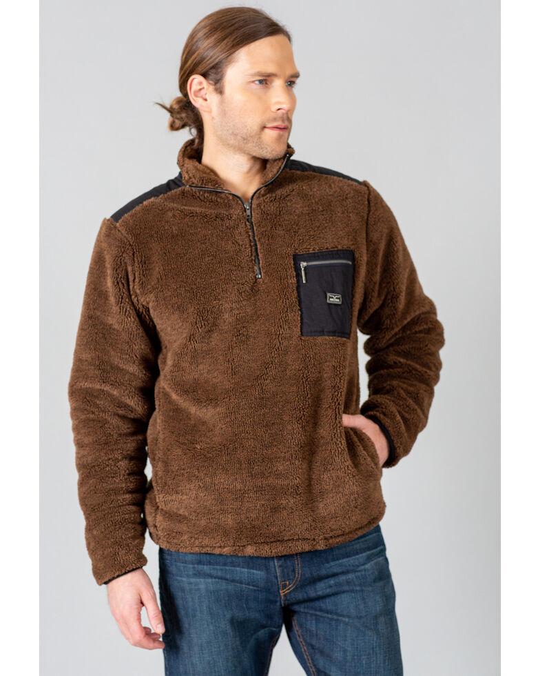 Kimes Ranch Men's Brown Whiskey Fleece 1/4 Zip Pullover , Brown, hi-res
