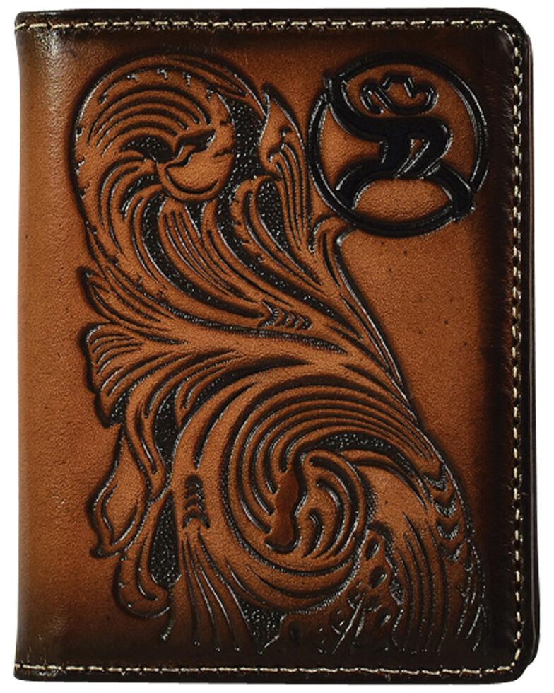 HOOey Men's Roughy Tooled Bifold Wallet, Tan, hi-res