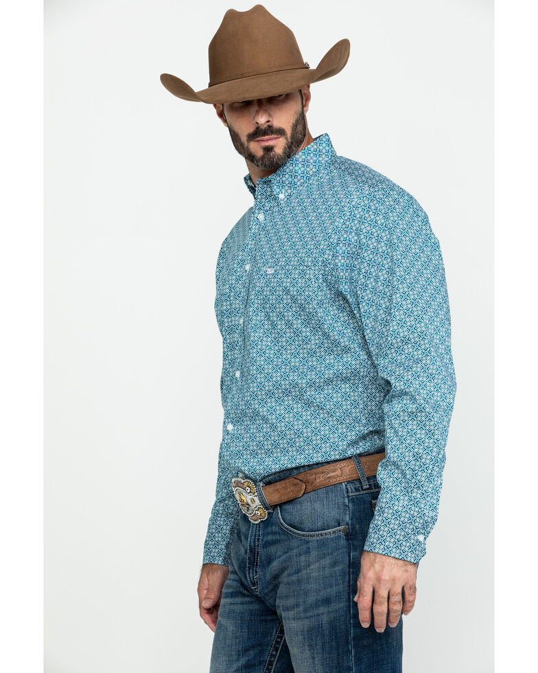 Wrangler 20X Men's Advanced Comfort Performance Teal Geo Print Long Sleeve Western Shirt , Teal, hi-res