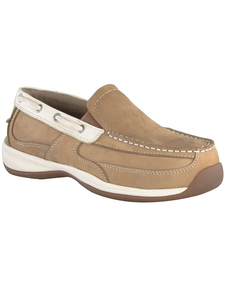 Rockport Works Women's Sailing Club Boat Shoes - Steel Toe, Tan, hi-res