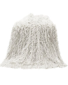 HiEnd Accents Mongolian Faux Fur Throw Blanket, White, hi-res