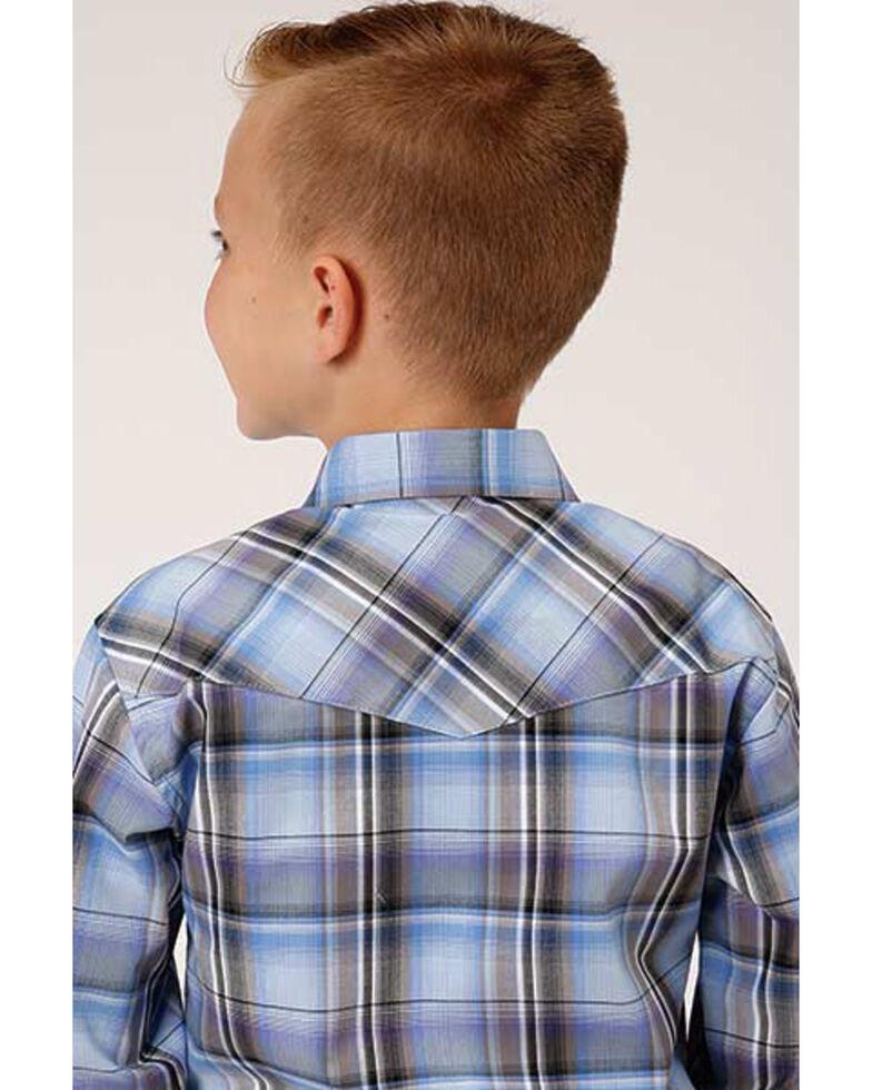 Roper Boys' Amarillo Cool Breeze Plaid Long Sleeve Western Shirt , Blue, hi-res