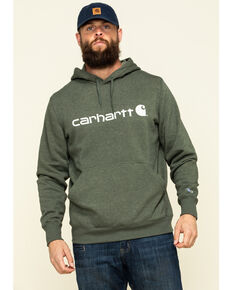 Carhartt Men's Moss Green Force Delmont Graphic Hooded Work Sweatshirt - Big , Moss Green, hi-res