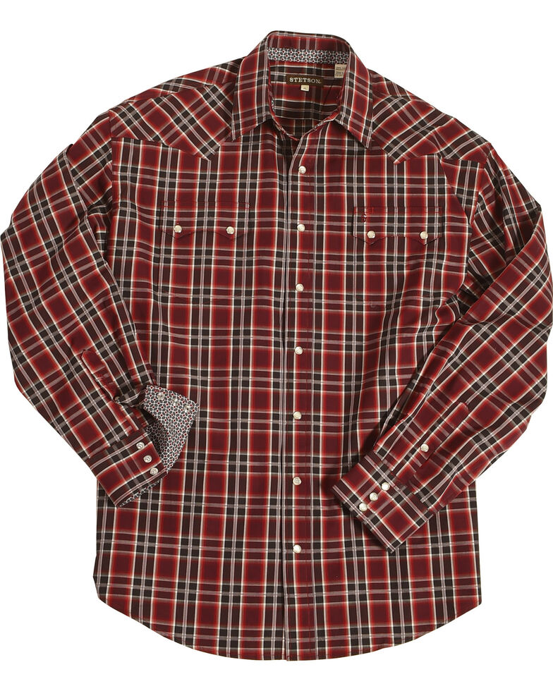 Stetson Men's Red Matrix Plaid Long Sleeve Western Shirt , Red, hi-res