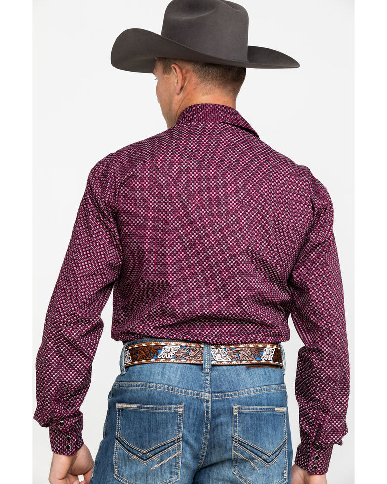 Stetson Men's Red Geo Print Long Sleeve Western Shirt , Red, hi-res