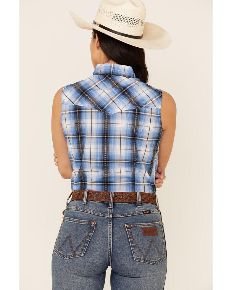 Ely Walker Women's Blue Plaid Aztec Yoke Sleeveless Snap Western Core Shirt , Blue, hi-res