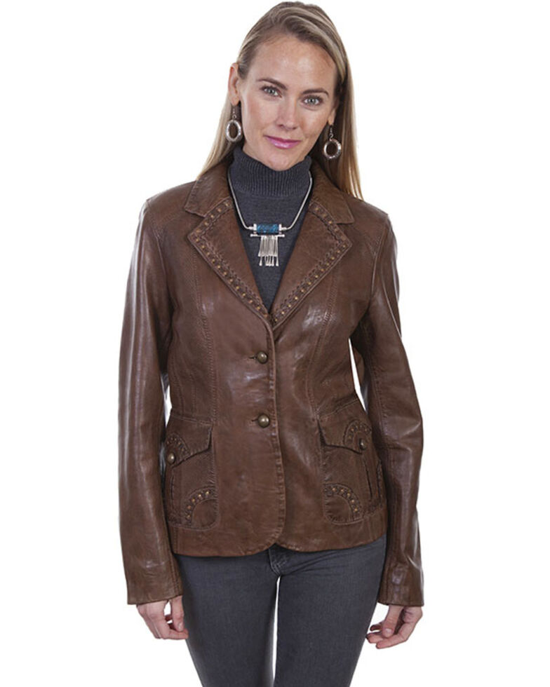 Leatherwear by Scully Women's Brown Studded Jacket, Brown, hi-res
