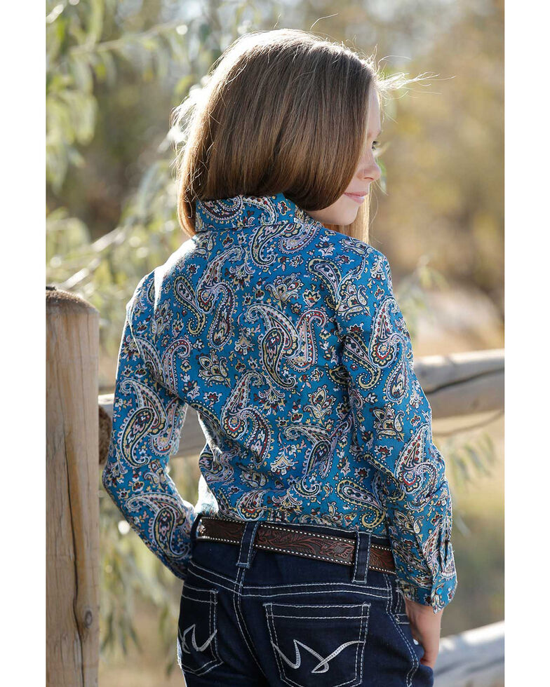 Cruel Girl Girls' Blue Paisley Print Long Sleeve Western Shirt, Blue, hi-res