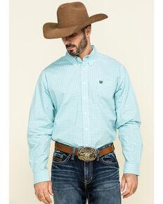 Cinch Men's White Small Plaid Weave Button Short Sleeve Western Shirt - Big , White, hi-res