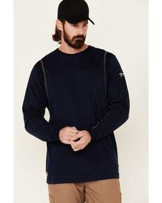 Ariat Men's Navy FR Crew Neck Long Sleeve T-Shirt, Navy, hi-res