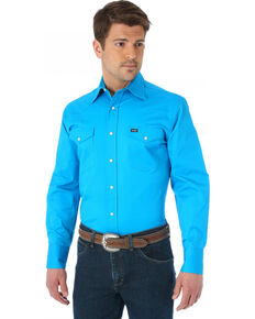 Men's Wrangler Advanced Comfort Work Shirt, Blue, hi-res