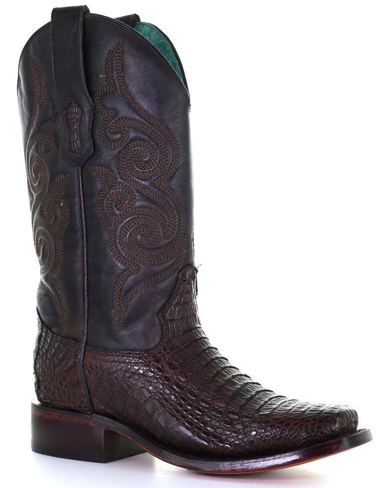 Corral Women's Exotic Caiman Skin Western Boots - Square Toe, Brown, hi-res