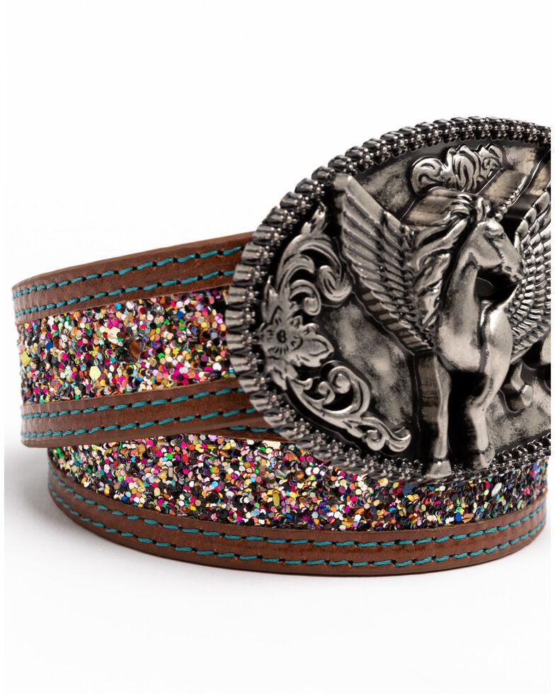 Shyanne Girls' Unicorn Magic Glitter Western Buckle Belt , Multi, hi-res