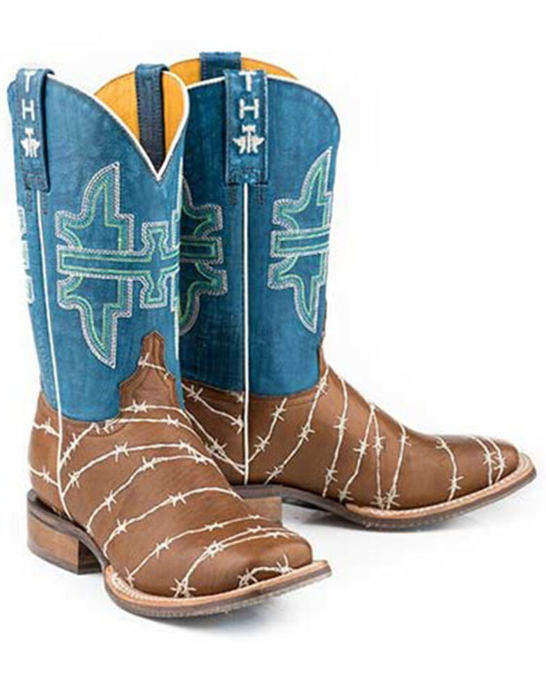 Tin Haul Women's Hands Off Western Boots - Wide Square Toe, Tan, hi-res