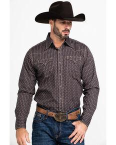 Stetson Men's Pinwheel Floral Geo Print Long Sleeve Western Shirt , Grey, hi-res