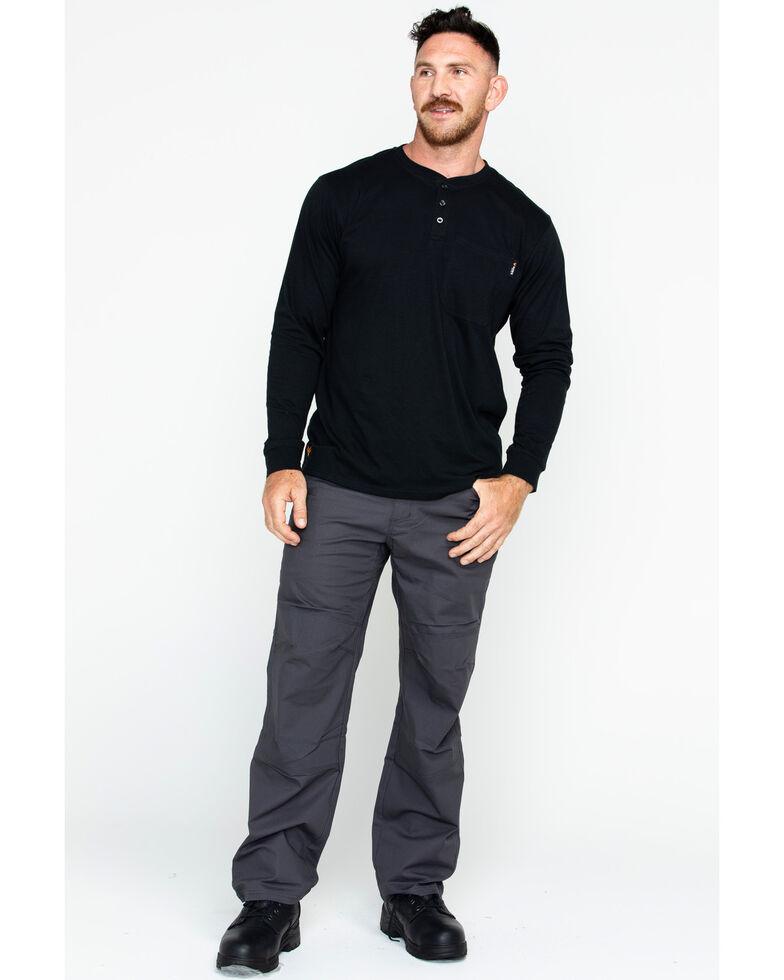 Hawx Men's Pocket Henley Long Sleeve Work Shirt , Black, hi-res