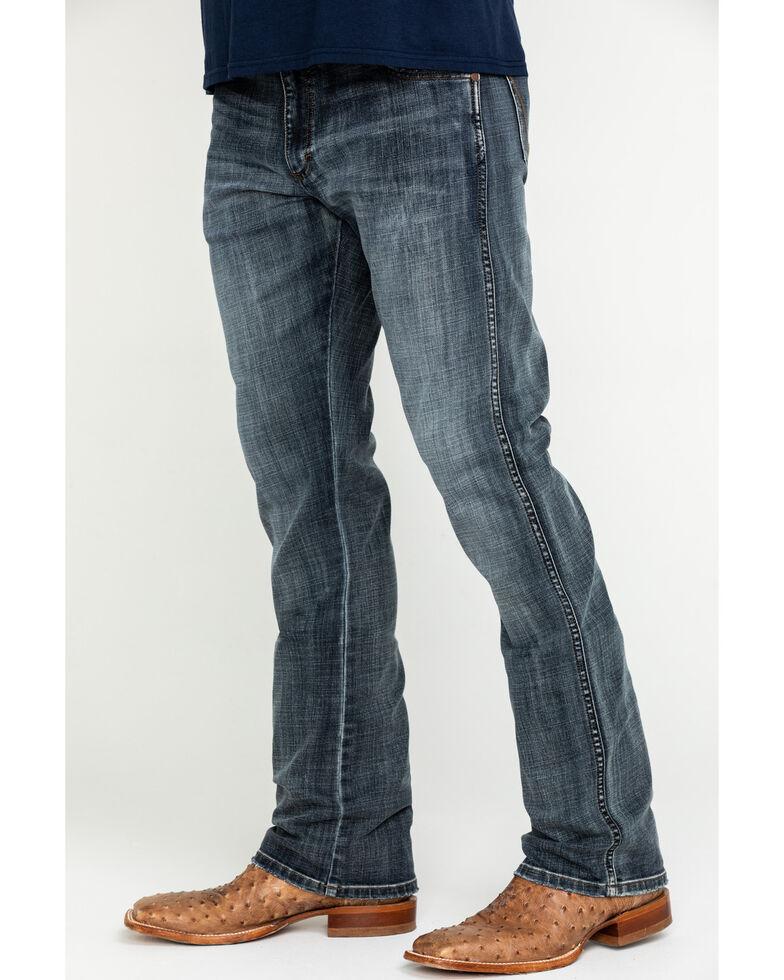 Wrangler Retro Men's Gunter Grey Tint Stretch Slim Bootcut Jeans - Long , Blue, hi-res