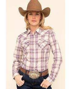 Wrangler Retro Women's Purple Plaid Long Sleeve Western Shirt , Purple, hi-res