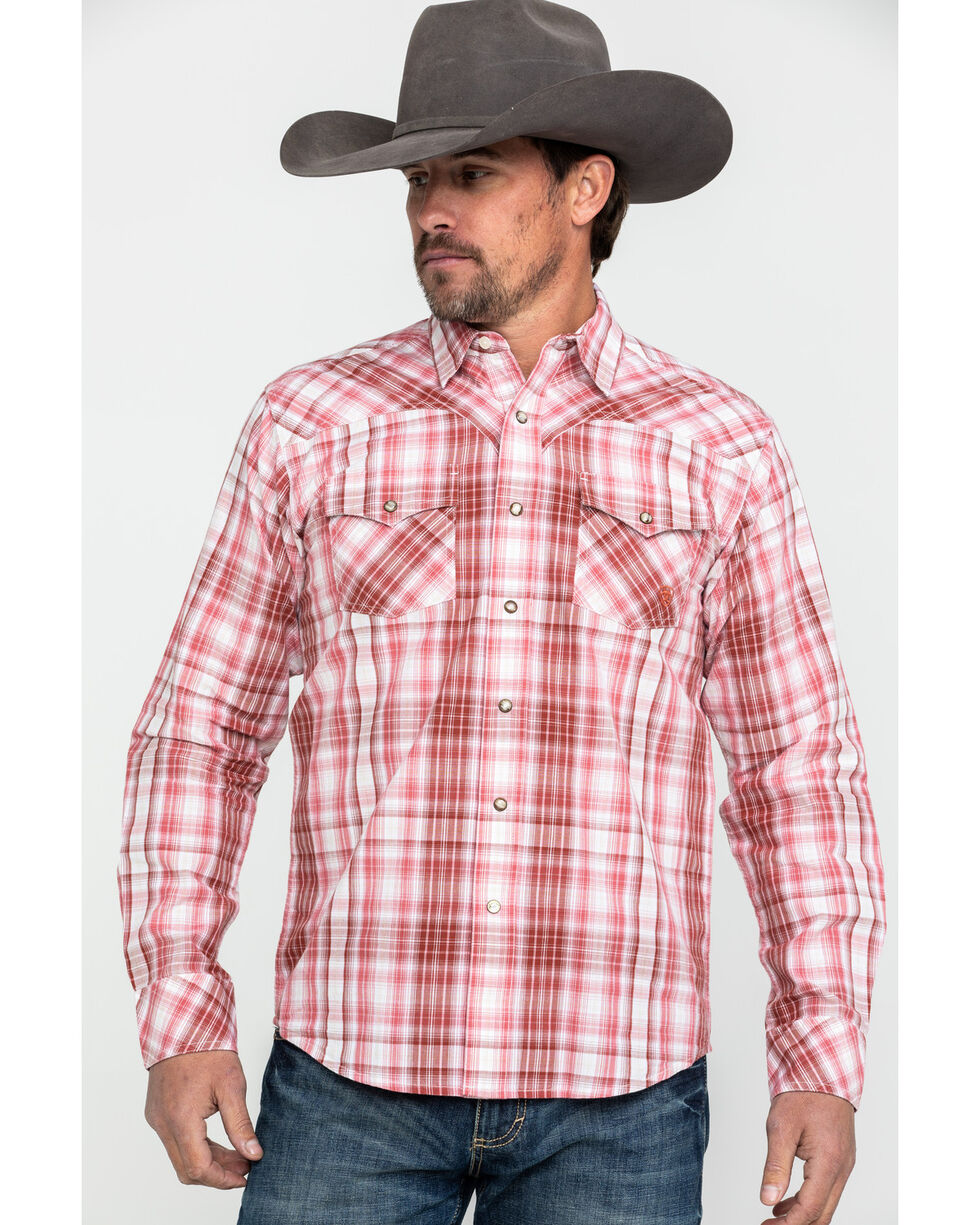 Ariat Men's Iwerson Retro Plaid Long Sleeve Western Shirt , Red, hi-res
