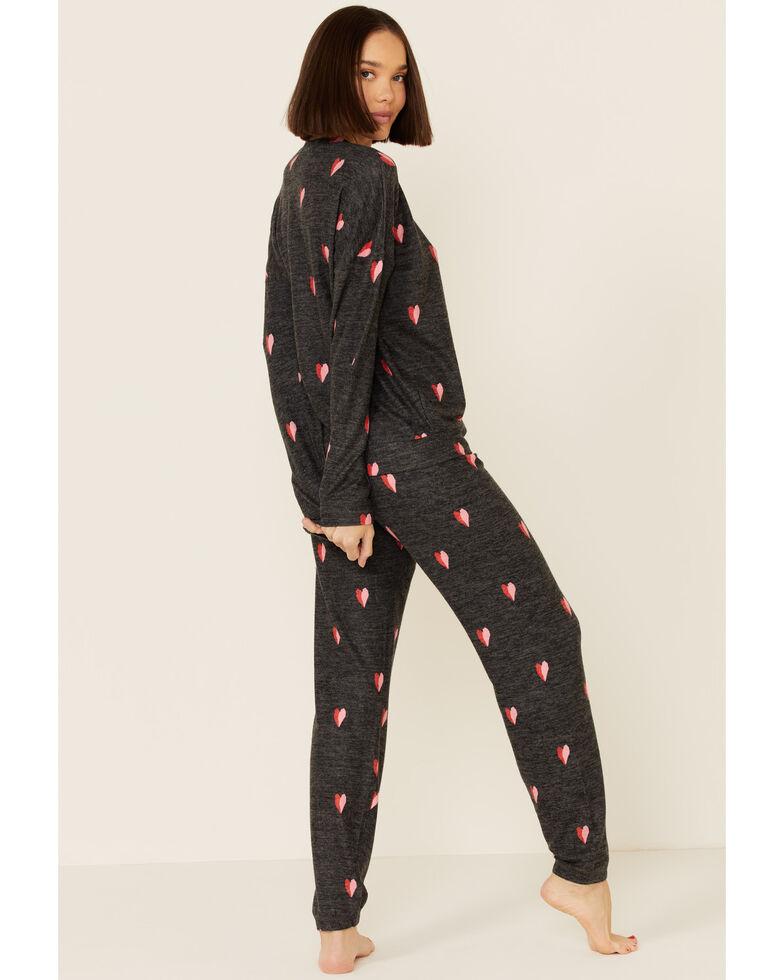 PJ Salvage Women's Charcoal Heart Print Long Sleeve Top , Charcoal, hi-res
