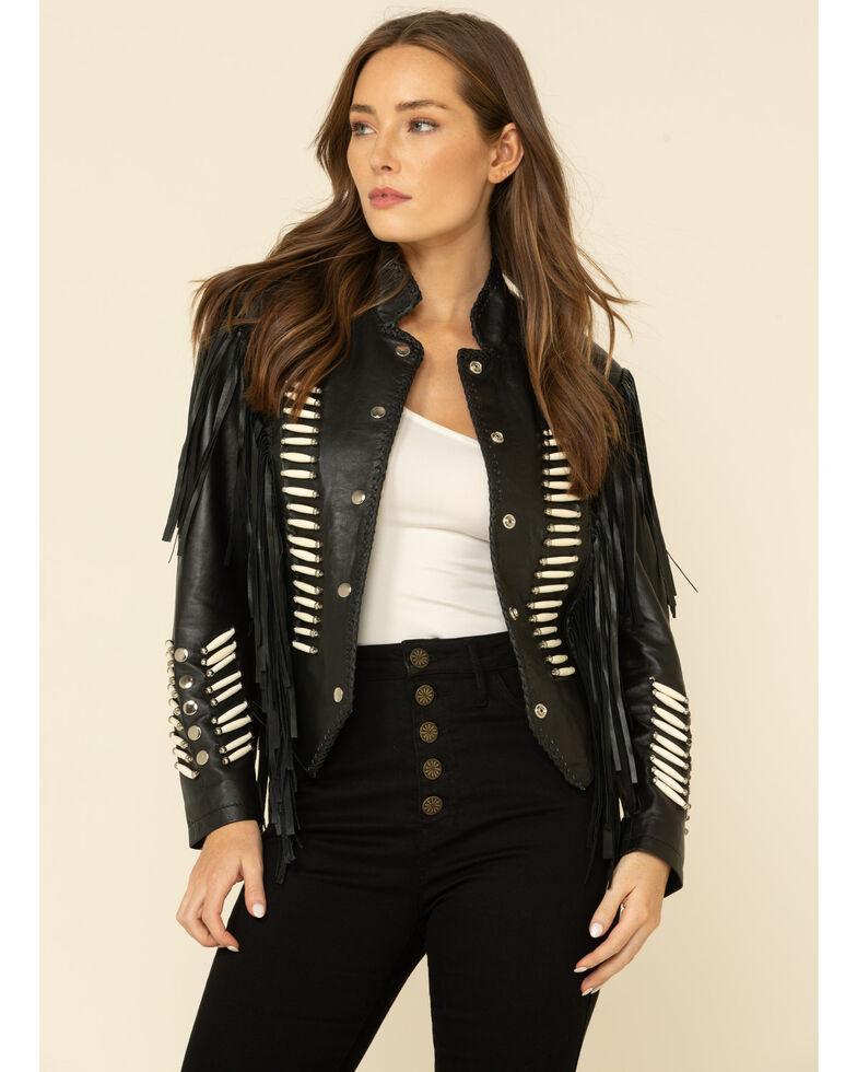 Liberty Wear Women's Black Fringe Sheep Napa Jacket , Black, hi-res