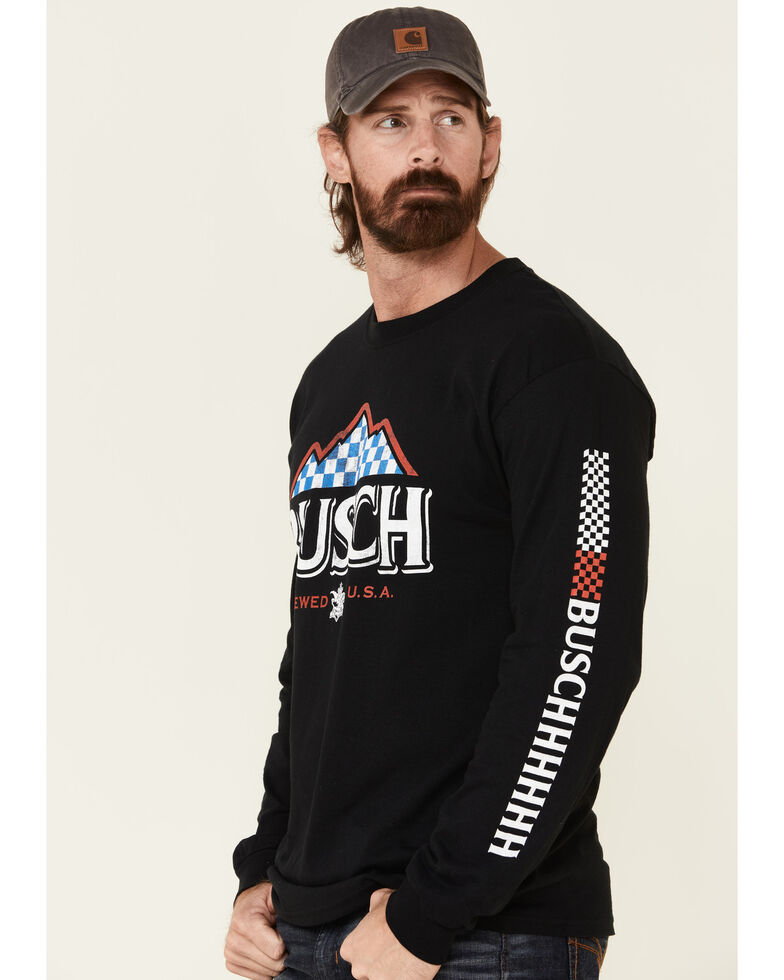 Brew City Beer Gear Men's Busch Flag Mountain Logo Graphic Long Sleeve T-Shirt , Black, hi-res
