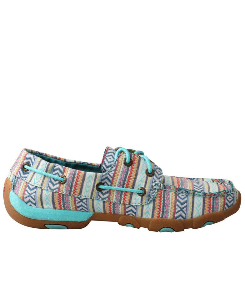 Twisted X Women's Turquoise Boat Shoes - Moc Toe, Turquoise, hi-res