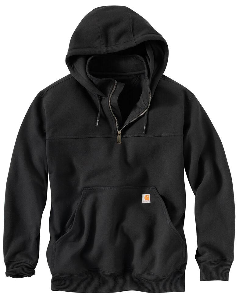 Carhartt Men's Rain Defender Paxton Hooded Zip Mock Work Sweatshirt, Black, hi-res
