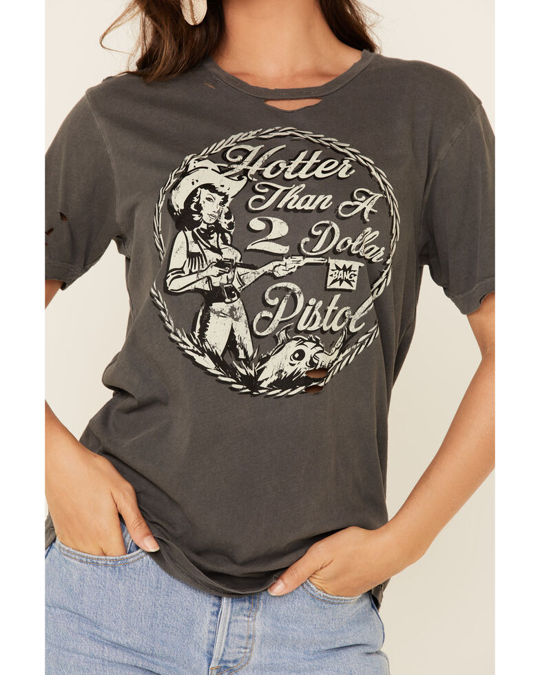 Country Deep Women's Black Vintage Dollar Pistol Distressed Graphic Tee , Black, hi-res