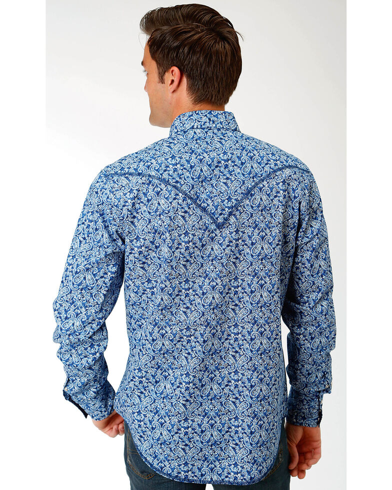Roper Men's Blue Paisley Print Long Sleeve Western Shirt , Blue, hi-res