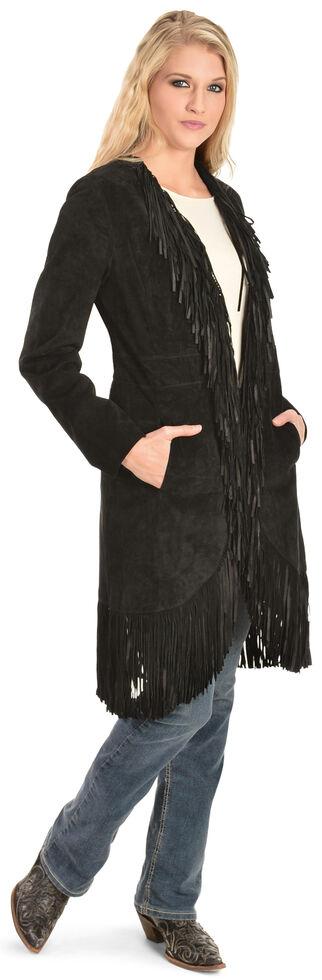 Scully Boar Suede Fringed Maxi Coat, Black, hi-res