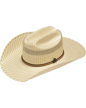 Ariat Men's 20X Two Tone Woven Straw Cowboy Hat, Ivory, hi-res