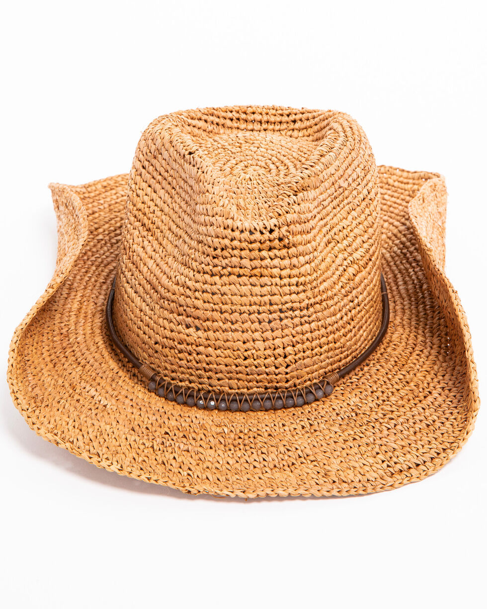 ále by Alessandra Cassidi Crochet Raffia with Stone Leather Trim Hat, Brown, hi-res