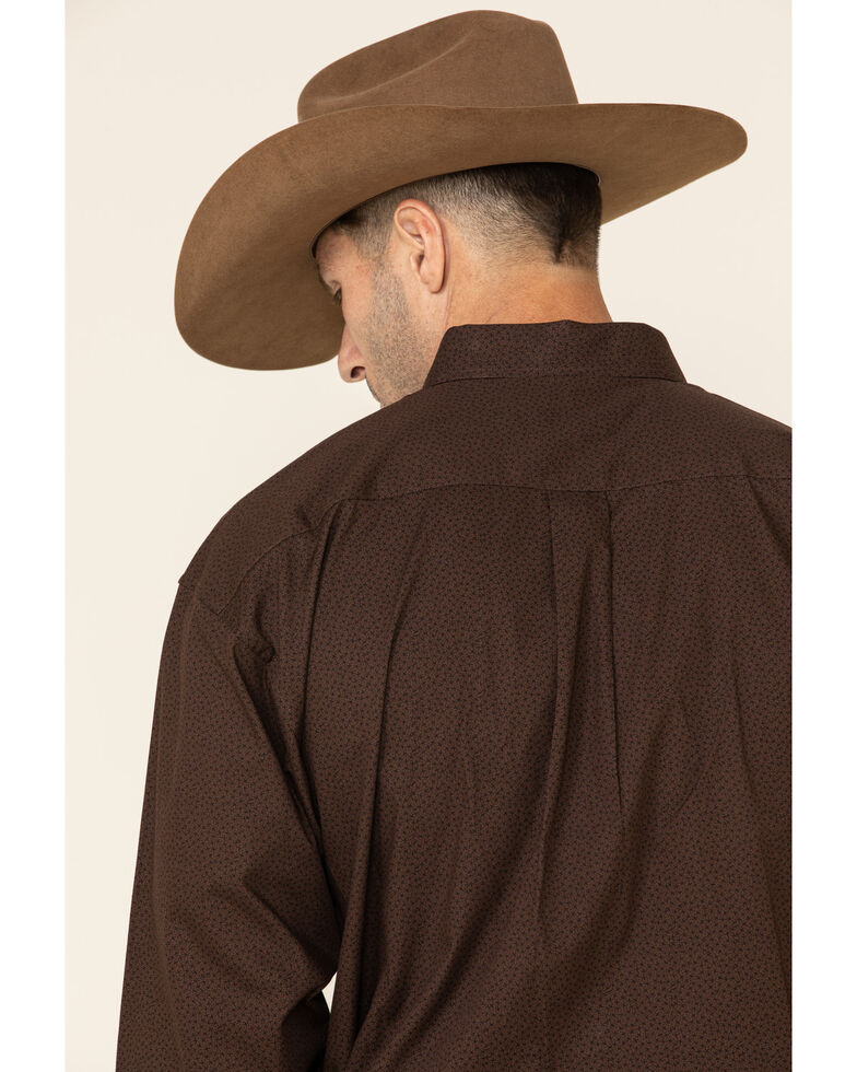 Panhandle Select Men's Brown Small Geo Print Long Sleeve Western Shirt , Brown, hi-res