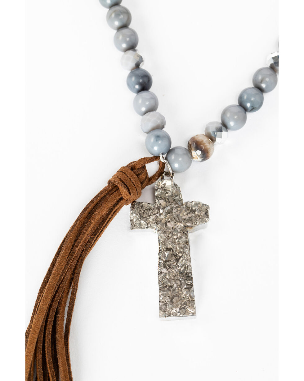 Shyanne Women's Slate Sparkle Druzy Cross Tassel Necklace, Slate, hi-res